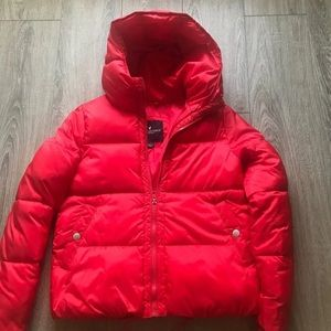 American eagle red puffer coat